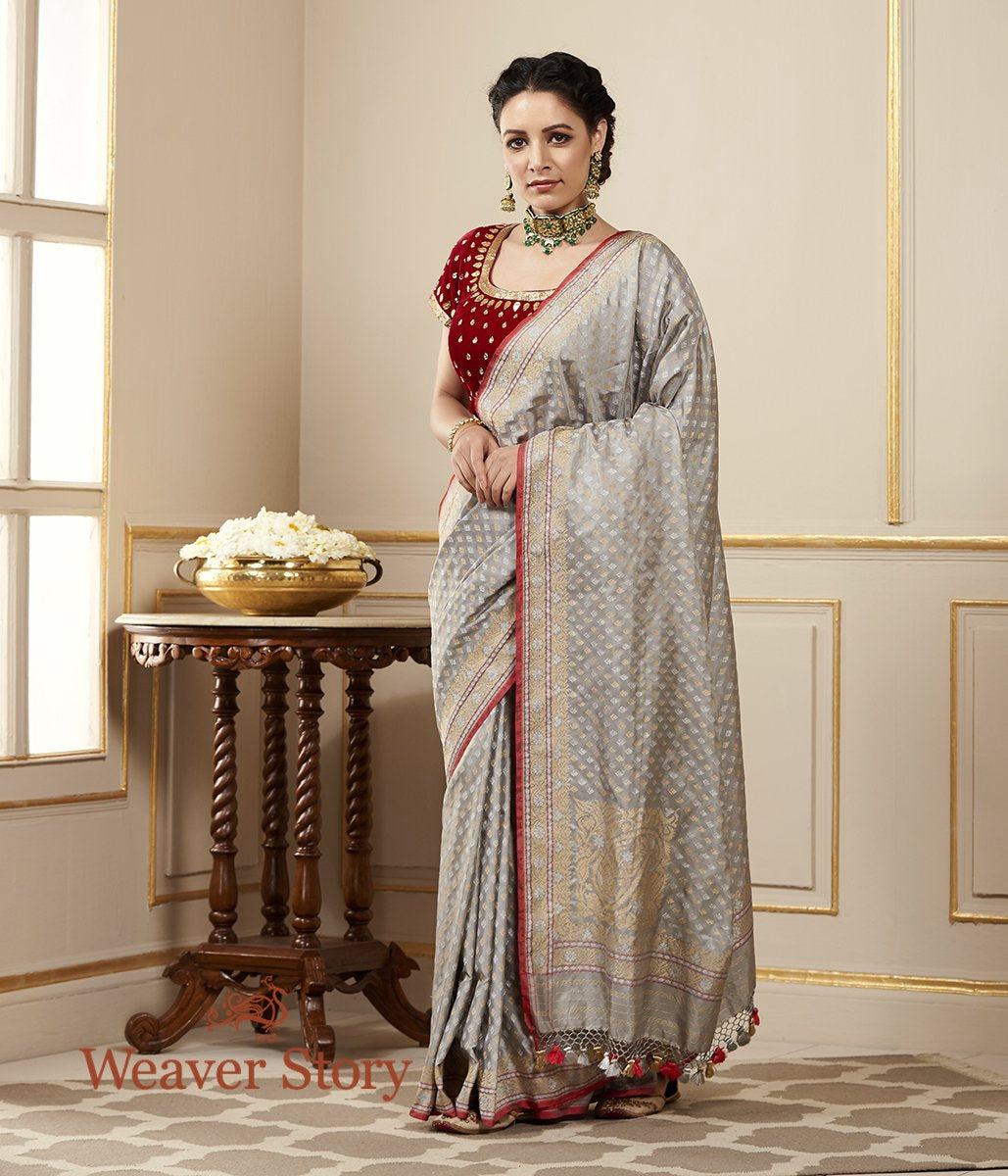 Handwoven Grey Banarasi Silk Saree with Traditional Neelambari Booti