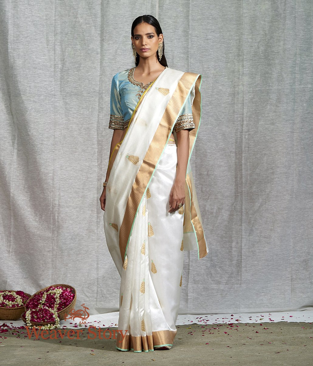 Handwoven White Silk Saree with Meena Boota and Green Selvedge