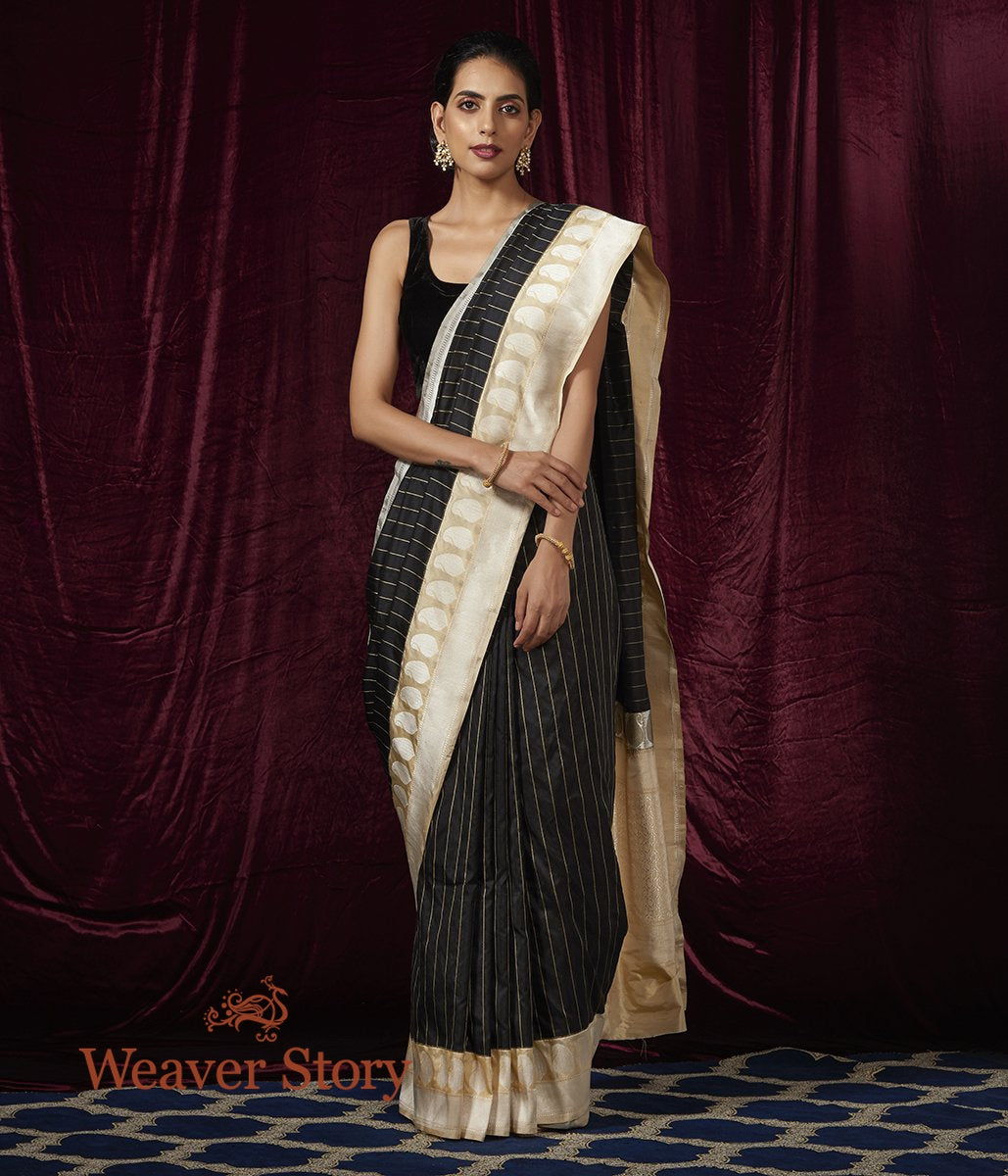 Handwoven Black Katan Silk Saree with Stripes and Kadhiyal Border in Off white