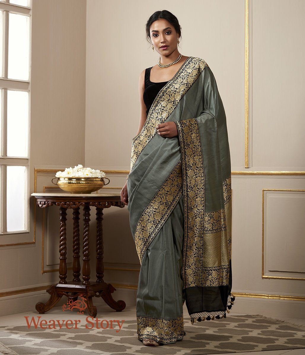 Handwoven Grey Tusser Saree with Black Kadhiyal Border