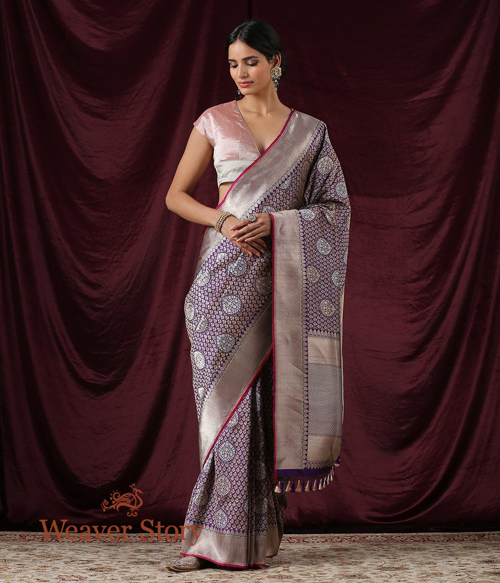 Handwoven Purple Kadhwa Jangla Saree with Wine Selvedge