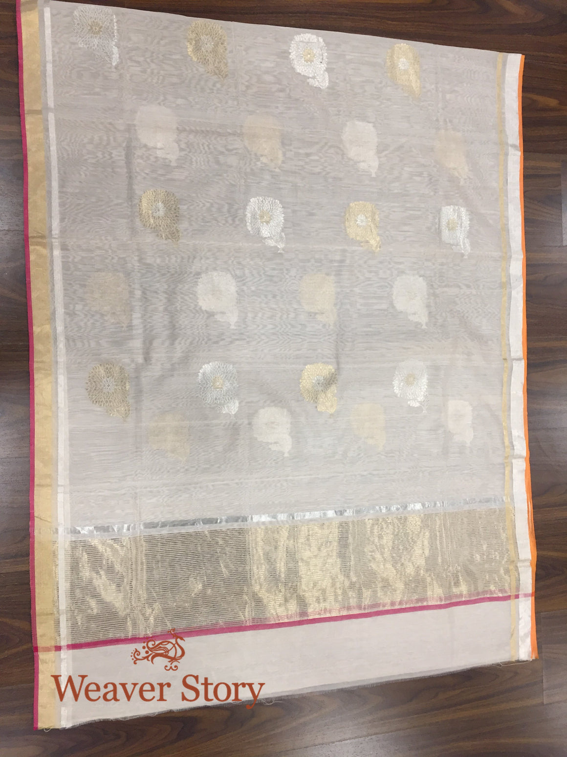 Handwoven Light Peach Chanderi Dupatta