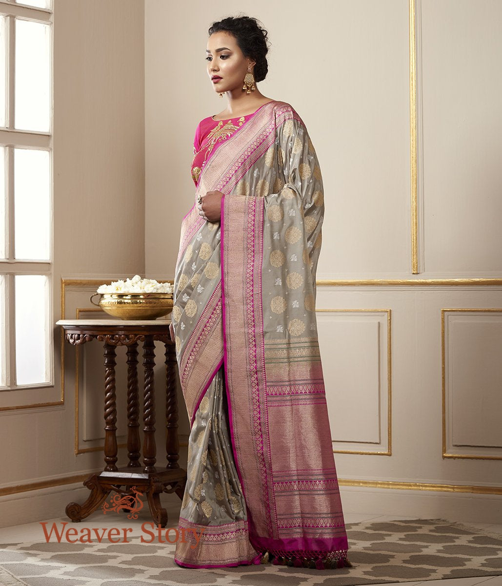 Handwoven Grey Kadhwa Banarasi Jangla with Pink Border