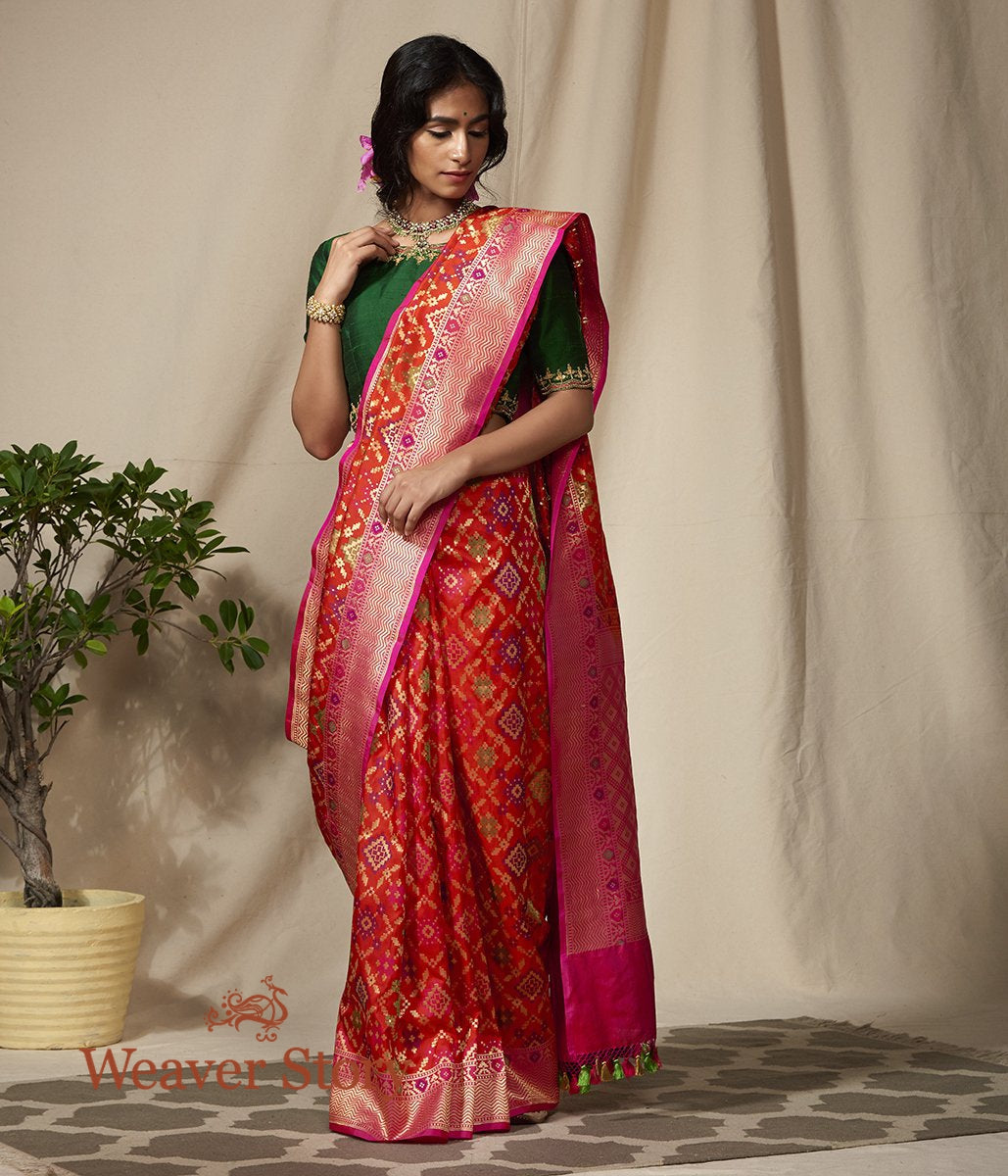 Orange and Pink Banarasi Patola Saree