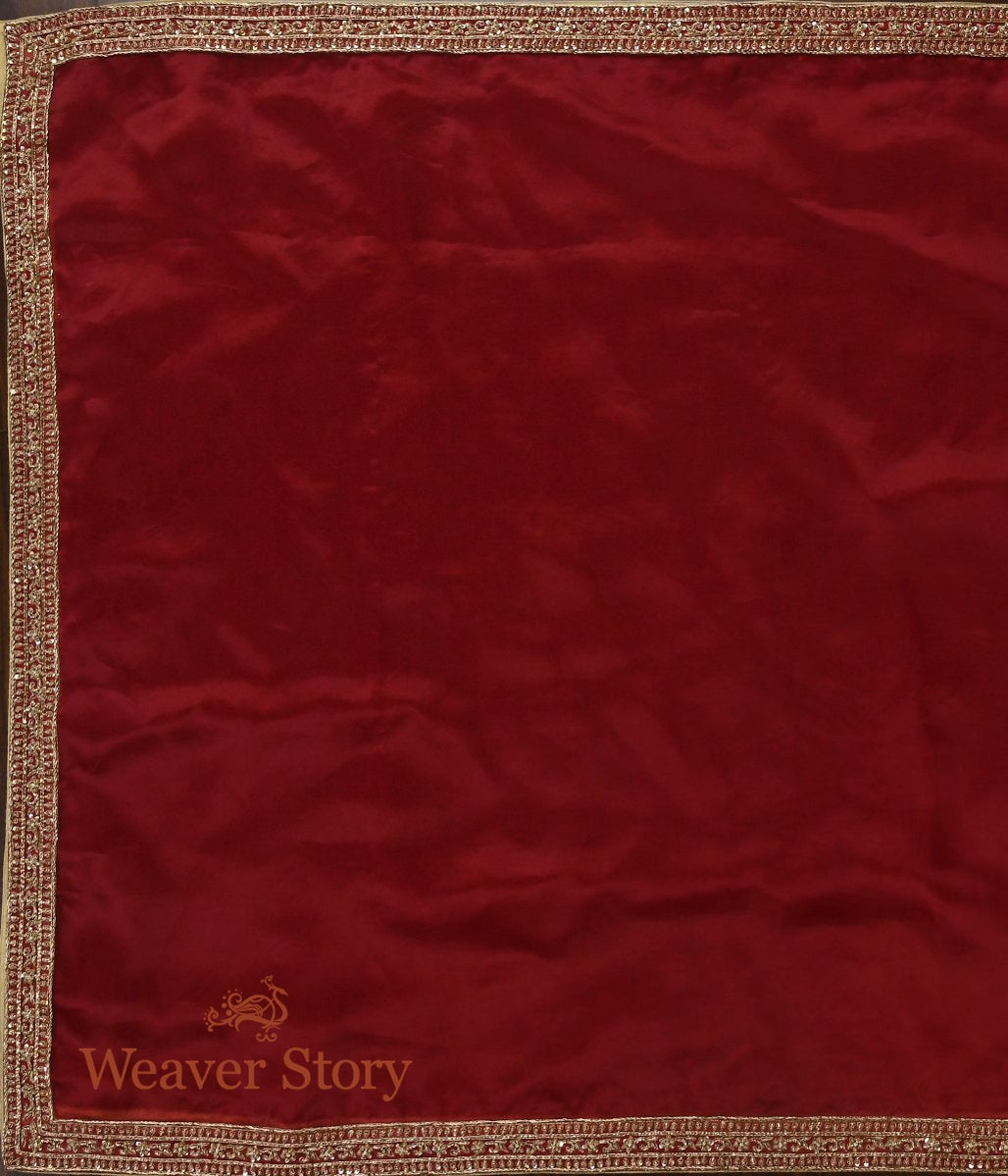 Maroon Zardozi Dupatta with Highway Border