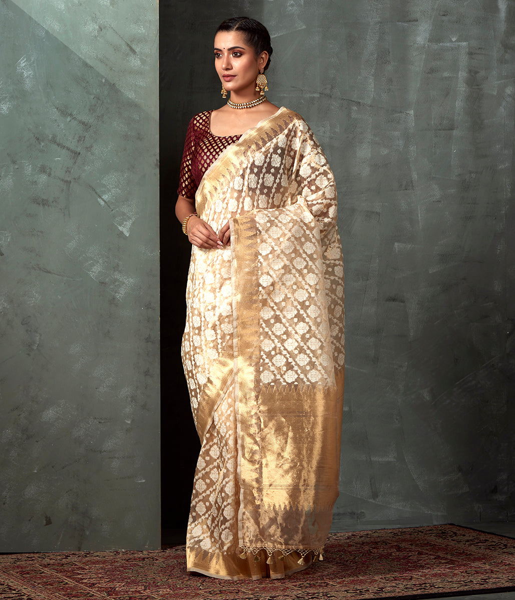 Handwoven Cream and Gold Kora Tissue Saree