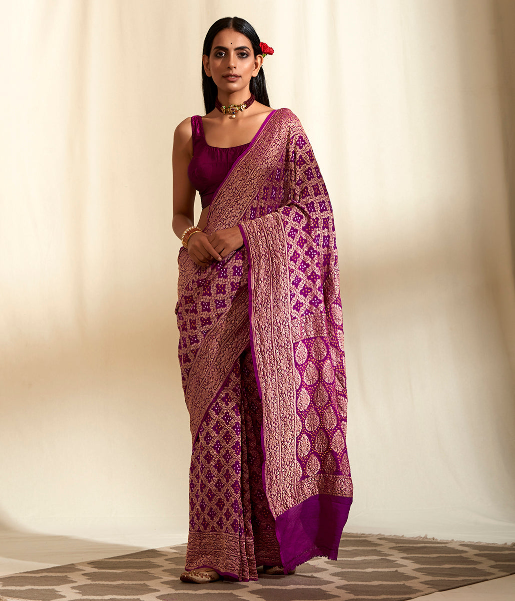 Handwoven Banarasi Bandhej Saree in Purple