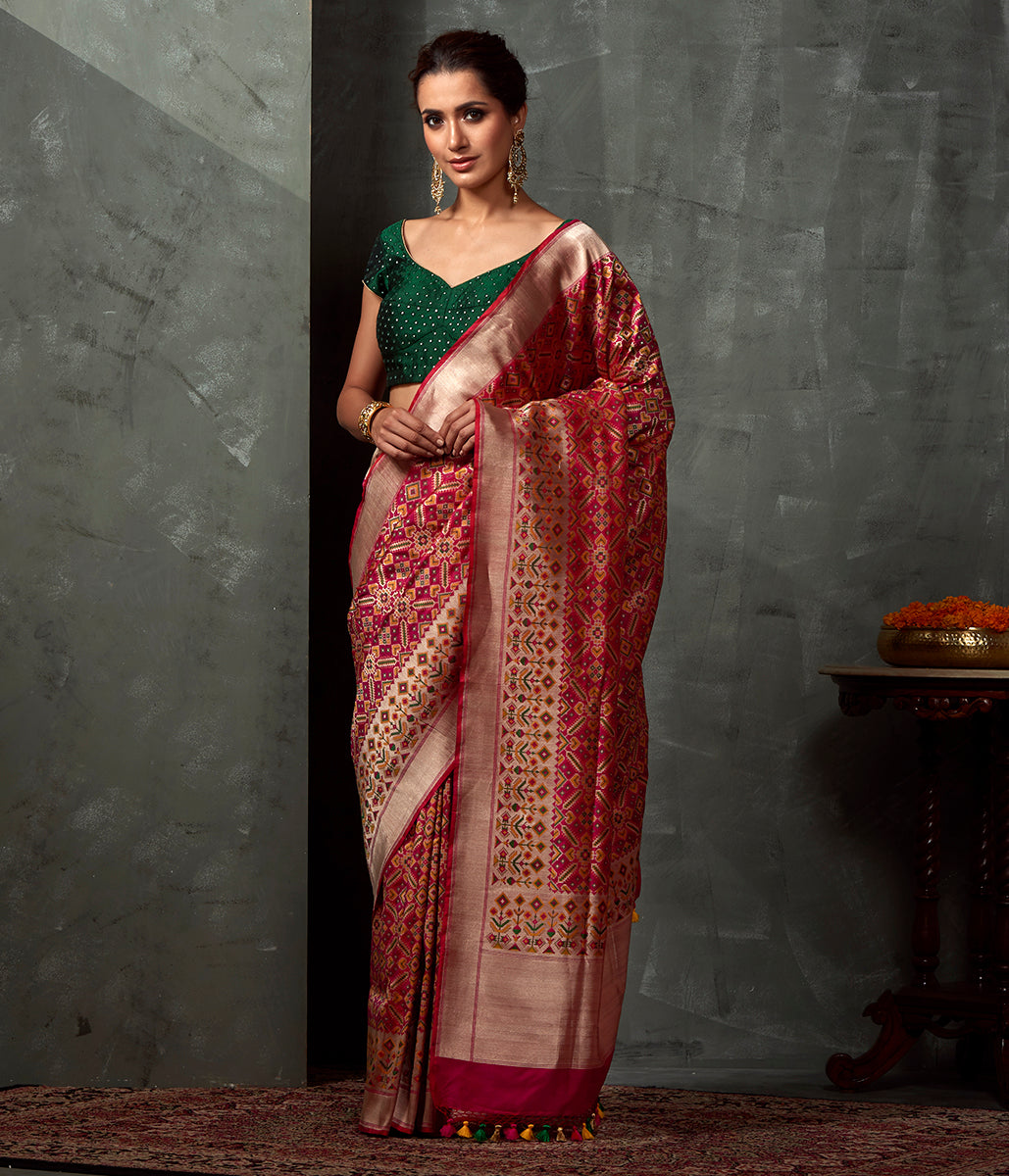 Handwoven Majenta Patola Saree with Paithani Border