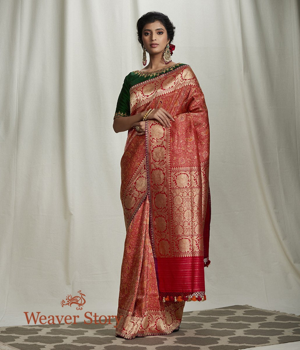 Handwoven Red Kimkhab Saree with Meenakari