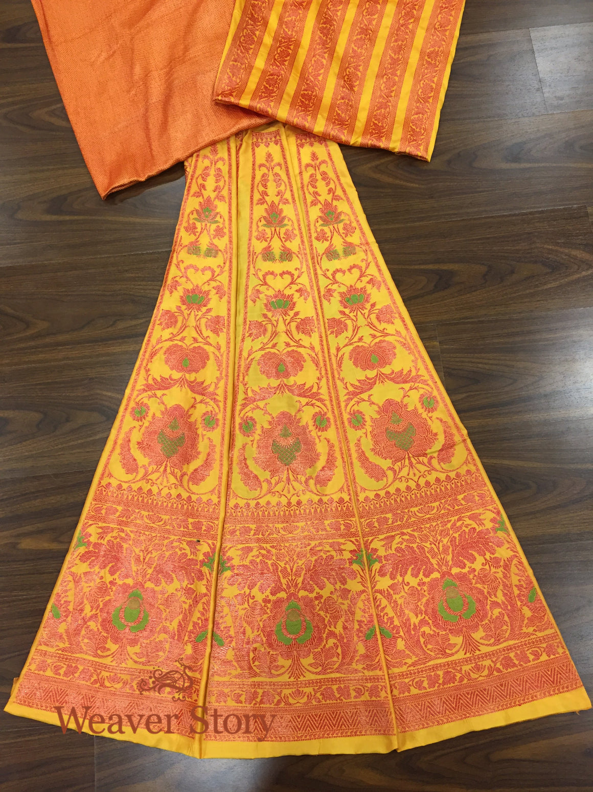 Handwoven Mustard and Red Lehenga with Meenakari
