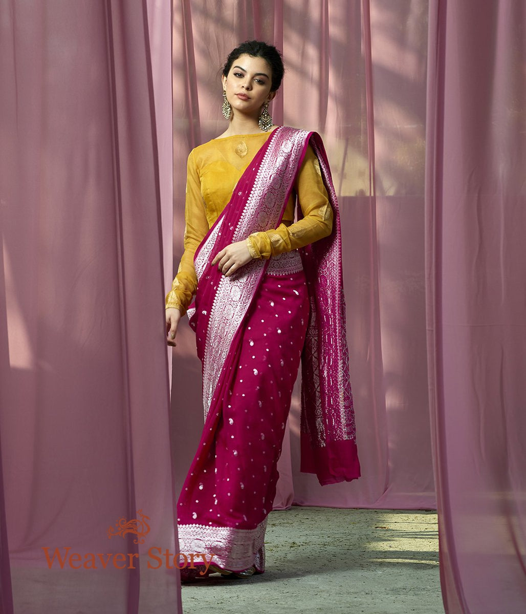 Handwoven Pink Banarasi Georgette Saree with Silver Zari