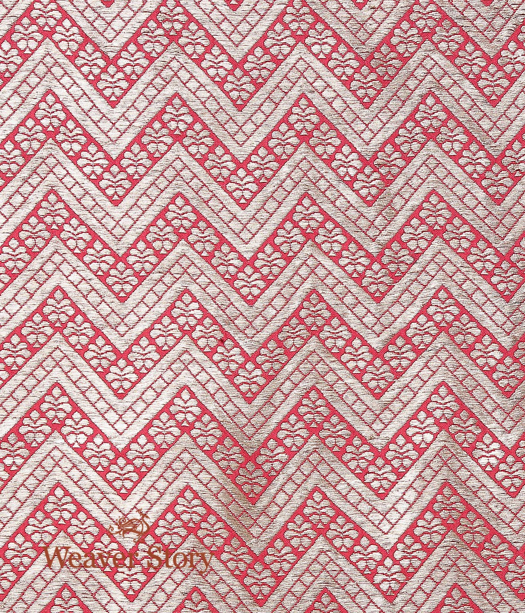 Handwoven Red Brocade Fabric with Chevron Weave