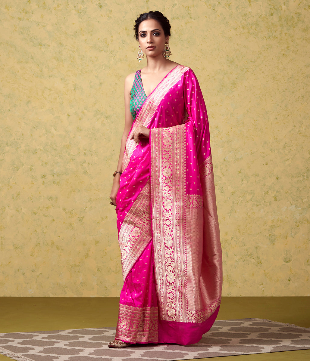 Handwoven Pink Small Floral Booti Saree with Kadhwa Border and Pallu