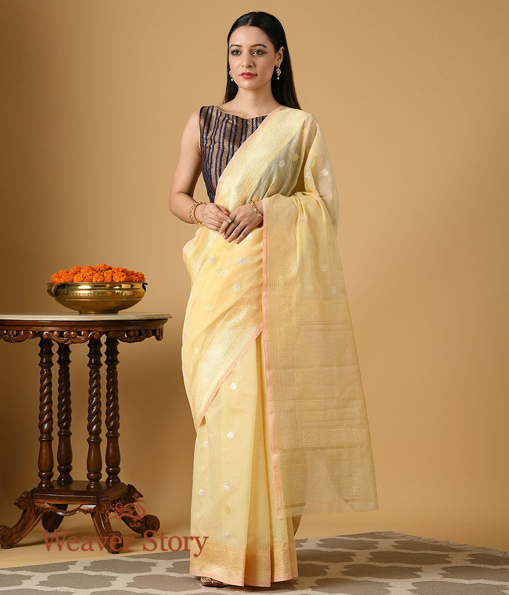 Handwoven Lemon Yellow Cotton Kadhwa Booti Saree