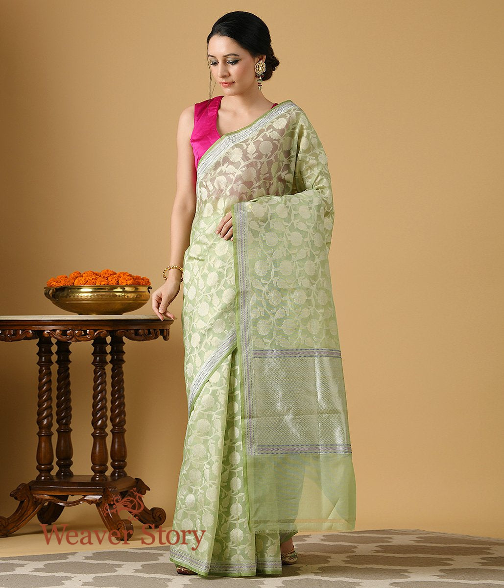 Handwoven Green Cotton Kora Jangla Saree