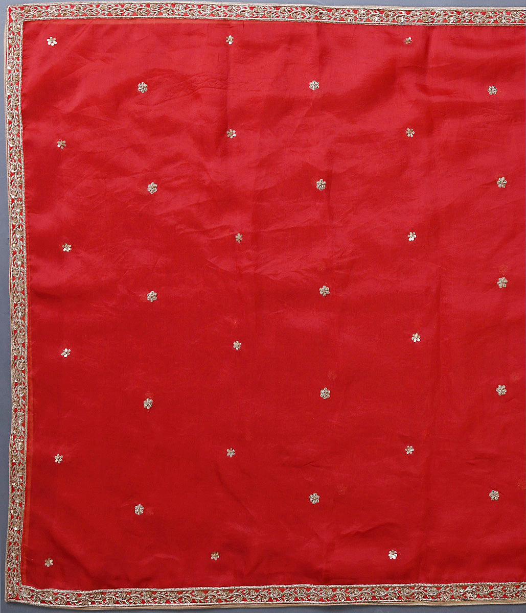 Handwoven Red Organza Dupatta with Zardozi Border