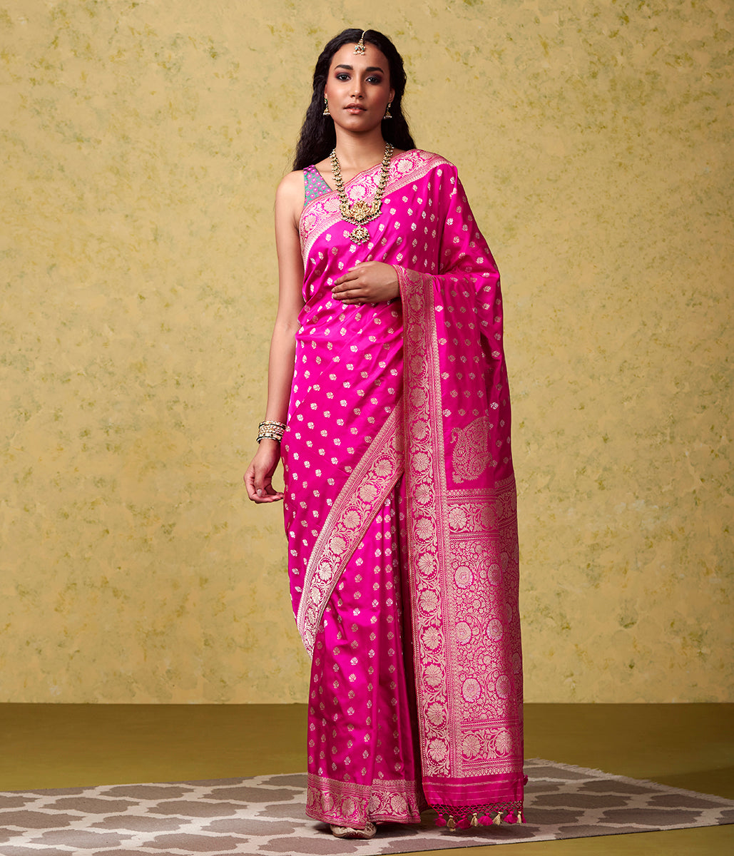 Handwoven Hot Pink Traditional Banarasi with Konia