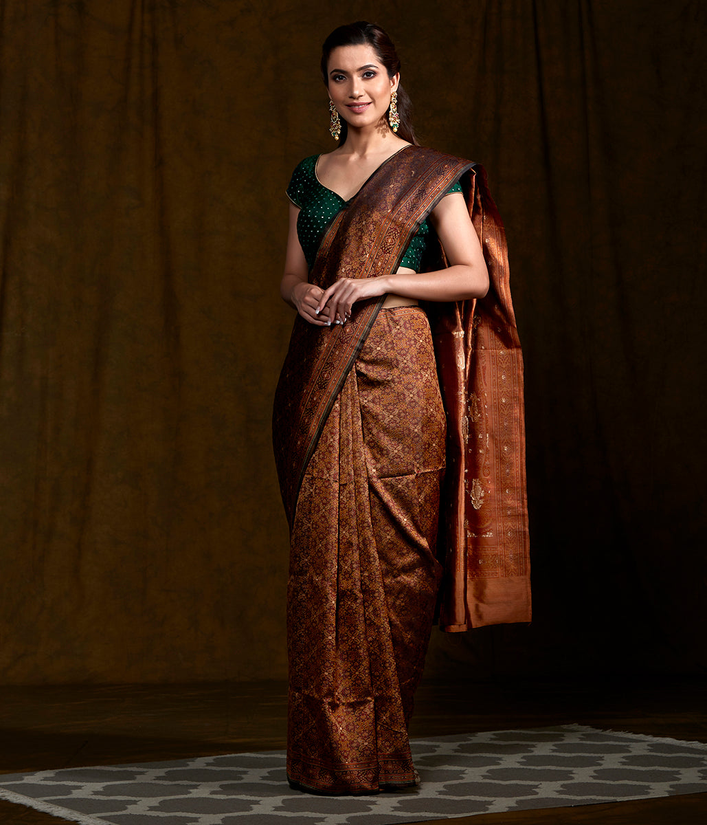Handwoven Brown Reshmi Tanchoi with Zari Booti Saree