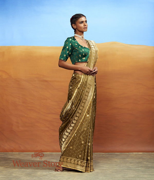 Handwoven Olive Booti Saree with Paisley Border