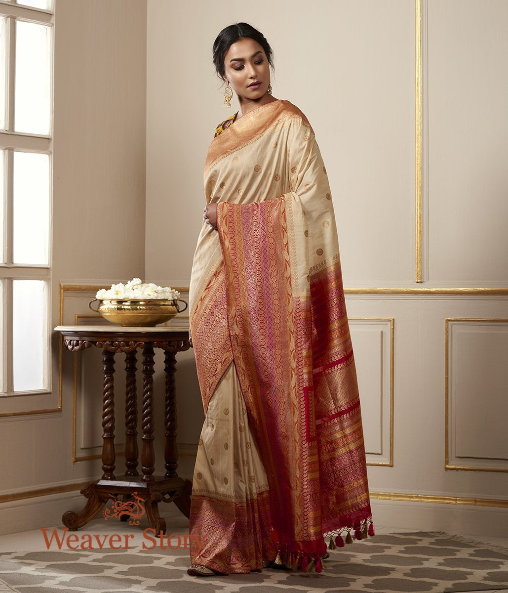 Handwoven Offwhite Tusser Silk Banarasi with Booti and Meenakari Border