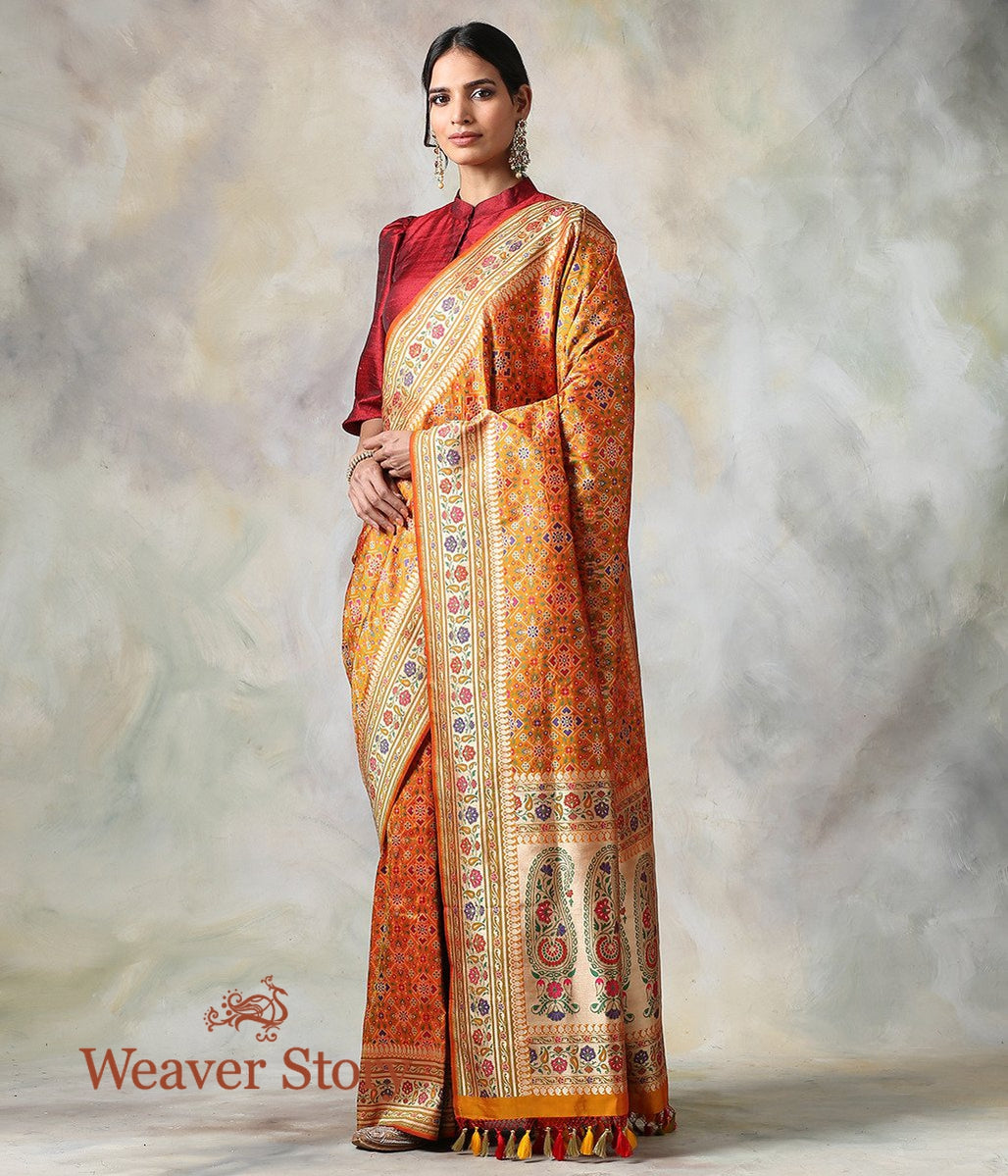 Handwoven Mustard Double Warp Patola Saree with Meenakari