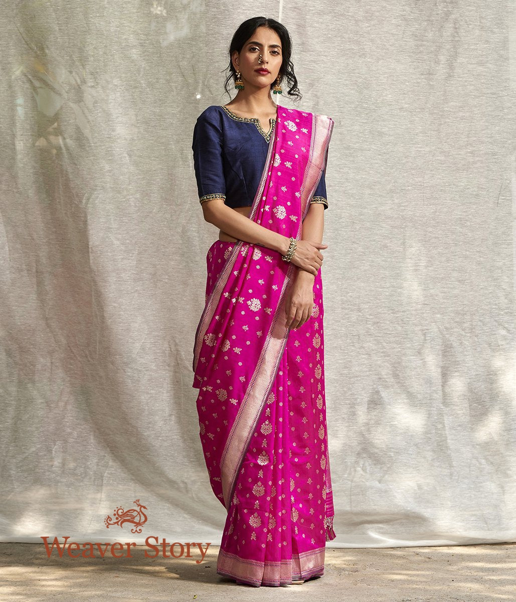 Handwoven Hot Pink Ektara Saree with Konia