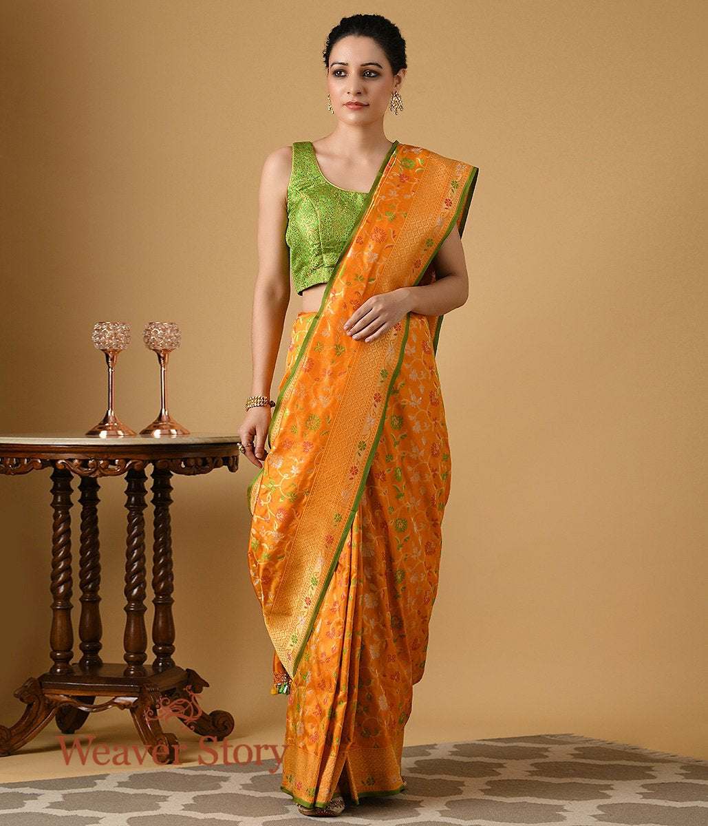 Handwoven Orange Multicolor Cutwork Patola Saree