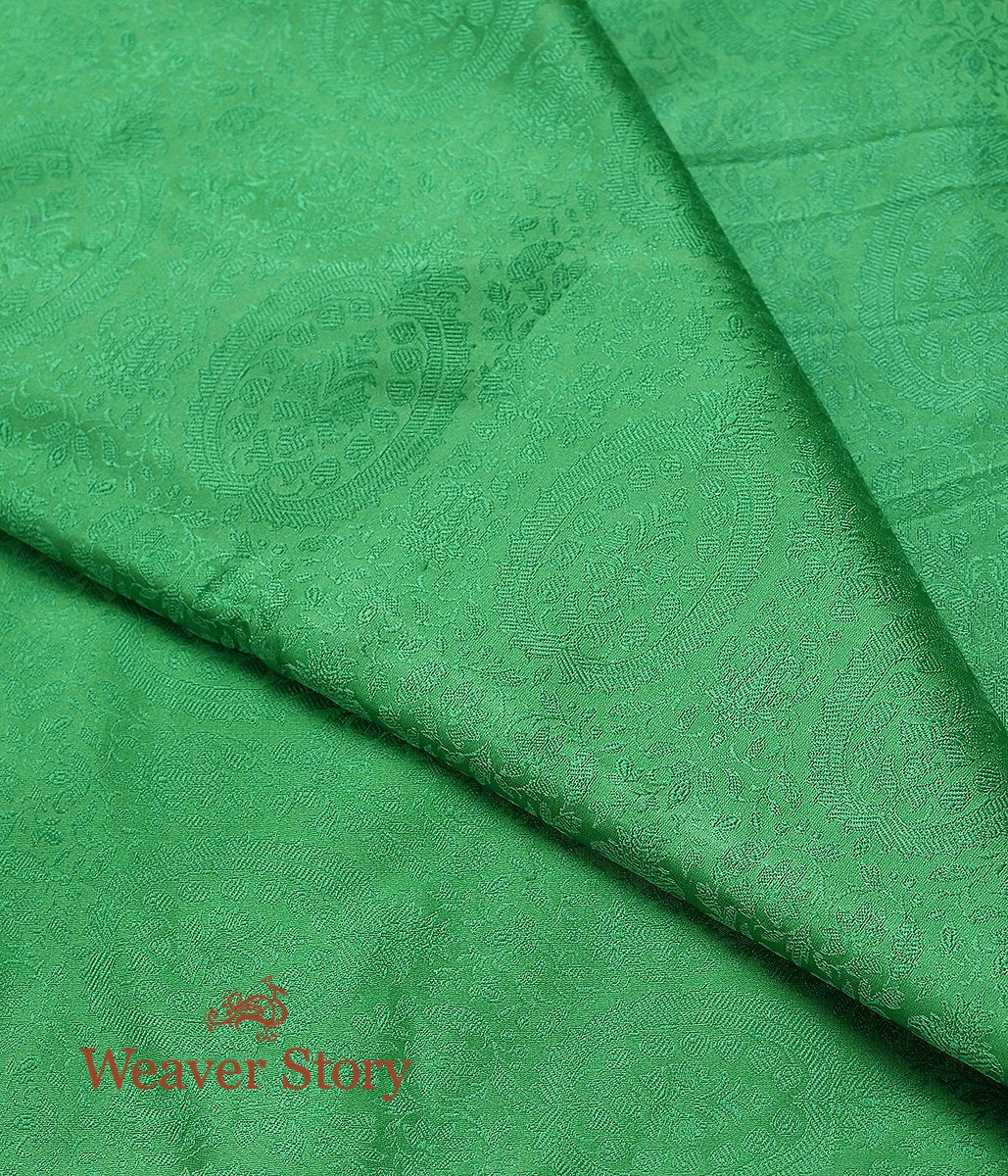 Handwoven Green Self Tanchoi Fabric