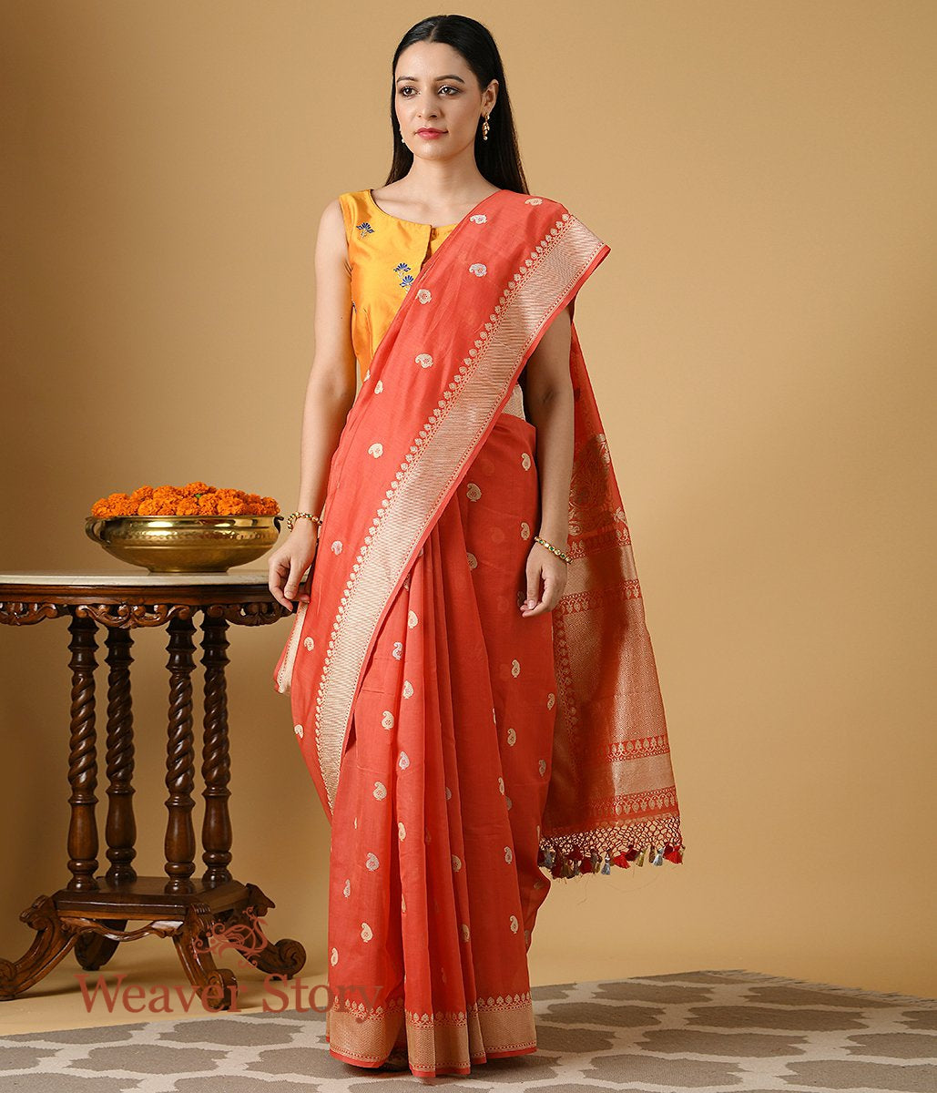 Handwoven Red Pure Cotton Saree with Konia