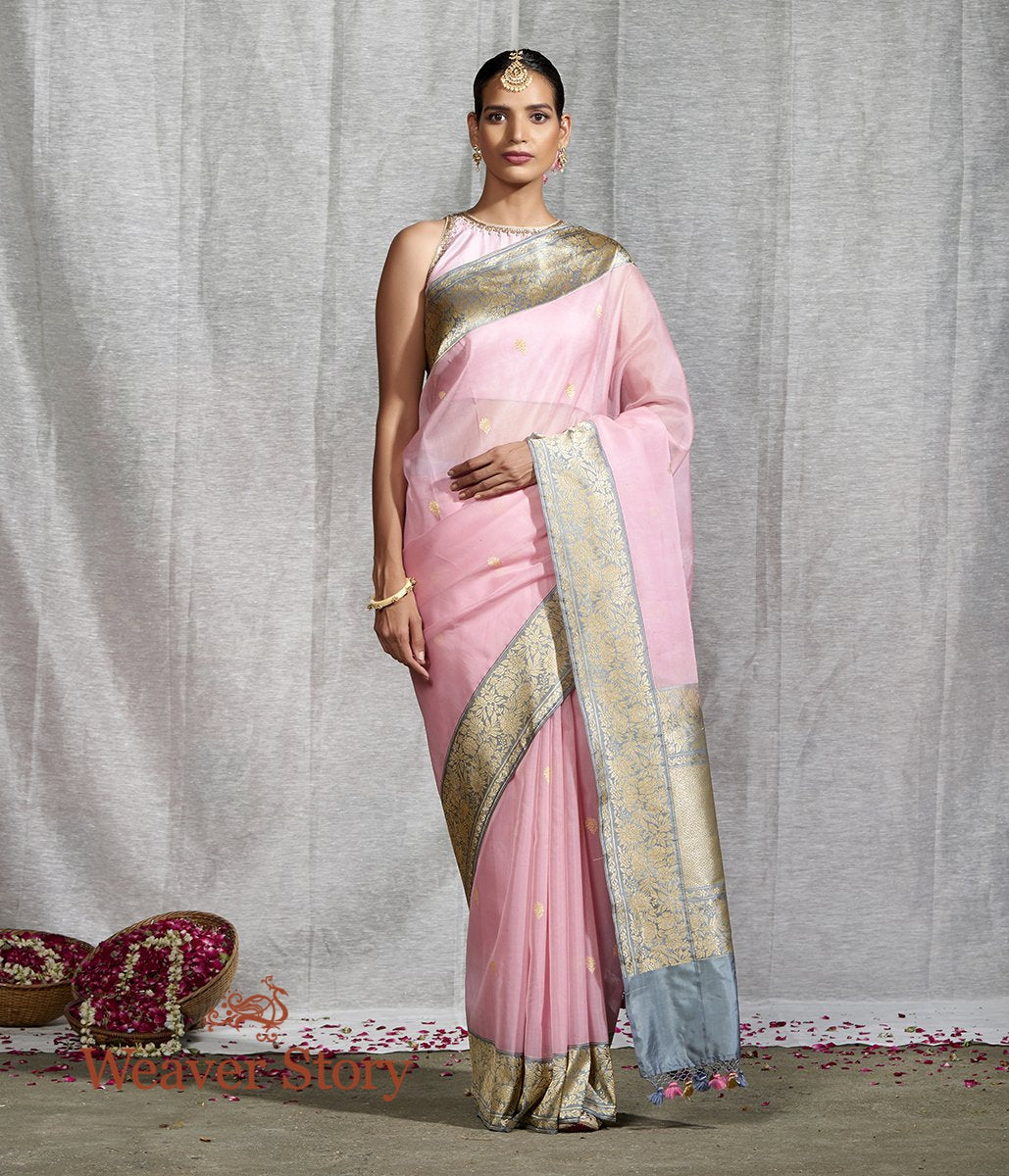 Handwoven Pink Kora Silk Saree with Contrast Floral Border