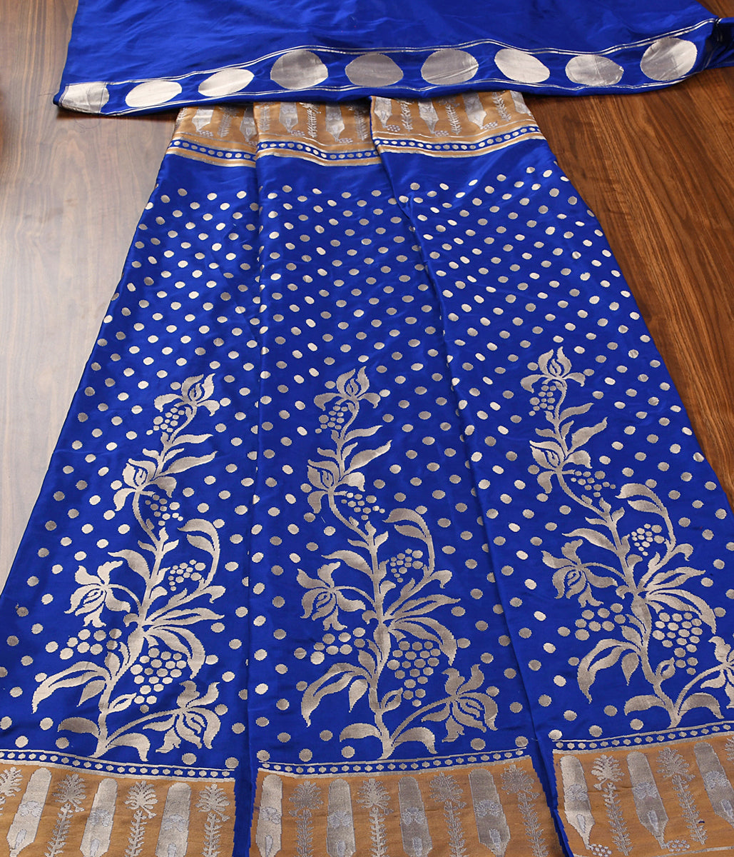 Handwoven Blue Kadhwa Lehenga with Gold and Silver Zari