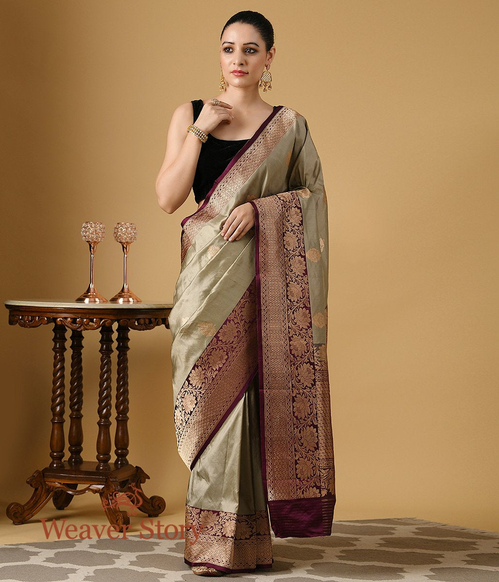 Handwoven Beige and Grey Dual Tone Katan Silk Sareee with Wine Border