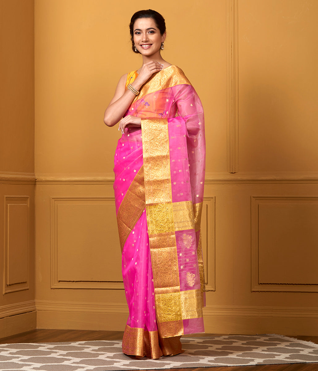 Handwoven Pink Kora Katan Chanderi Saree with Mustard Border