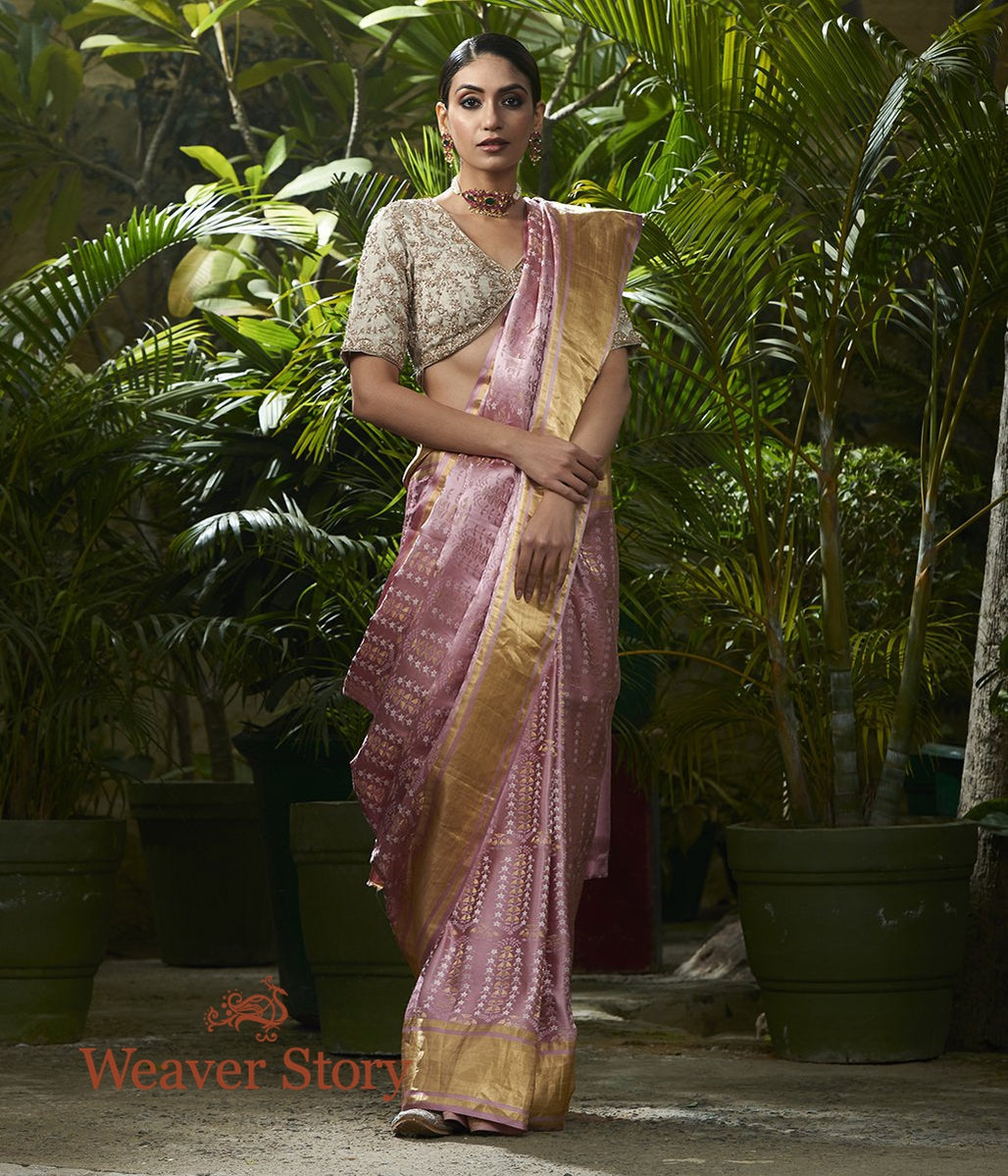 Handwoven Rose Pink Mehrab Boota Saree with Tissue Weft