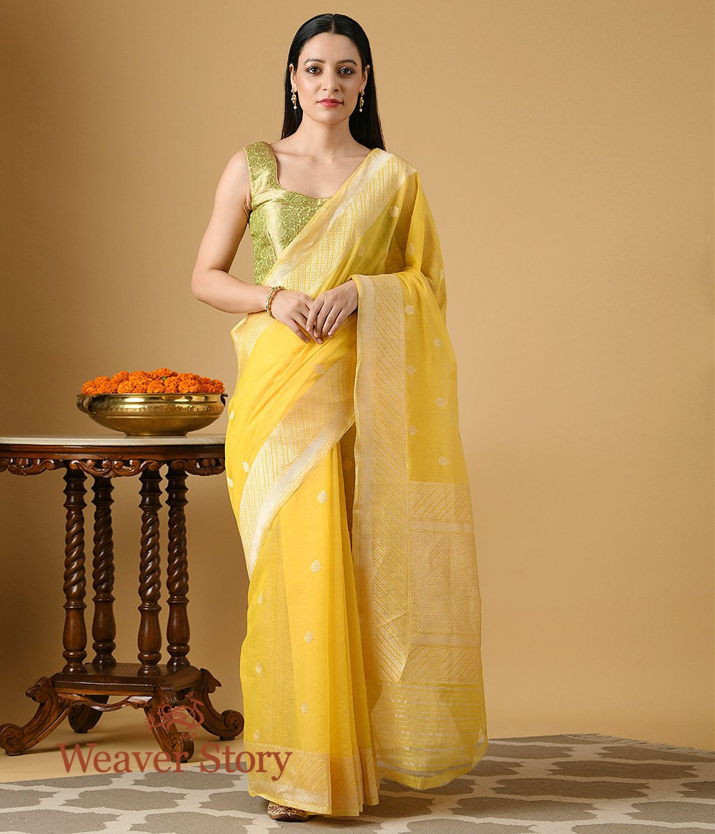 Handwoven Yellow Cotton Kora Banarasi Saree