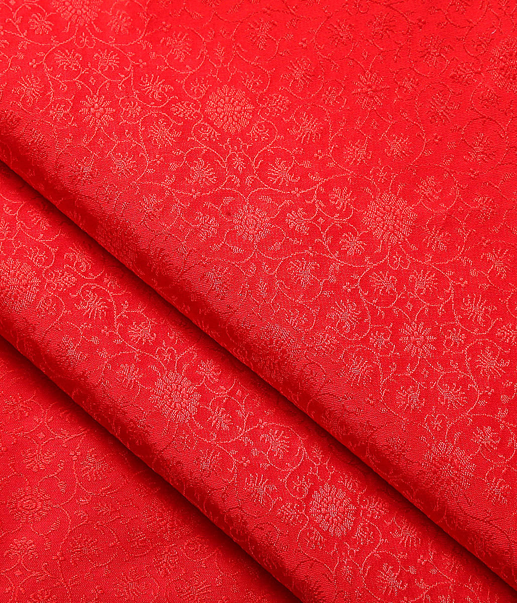 Handwoven Red Self Weave Tanchoi Fabric
