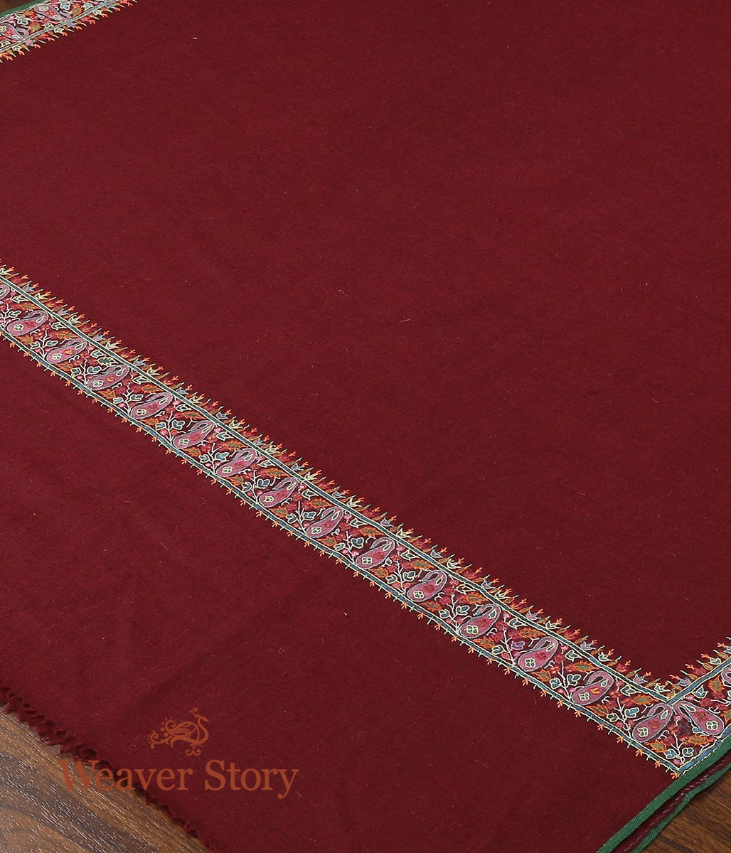 Maroon Pure Pashmina Shawl with Applique Border in Kalamkari
