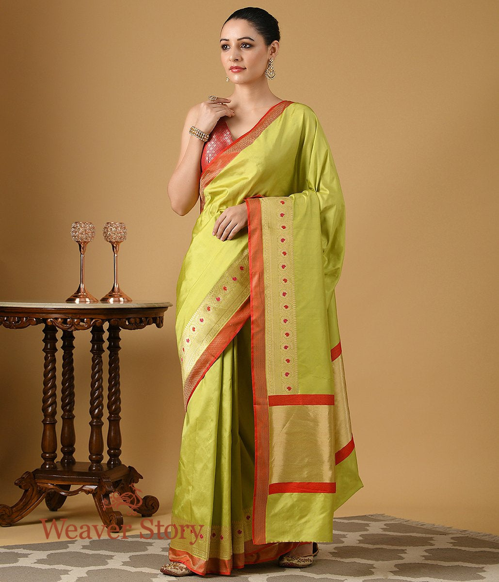 Handwoven Pista Green Banarasi Saree with Floral Border in Gold and Red
