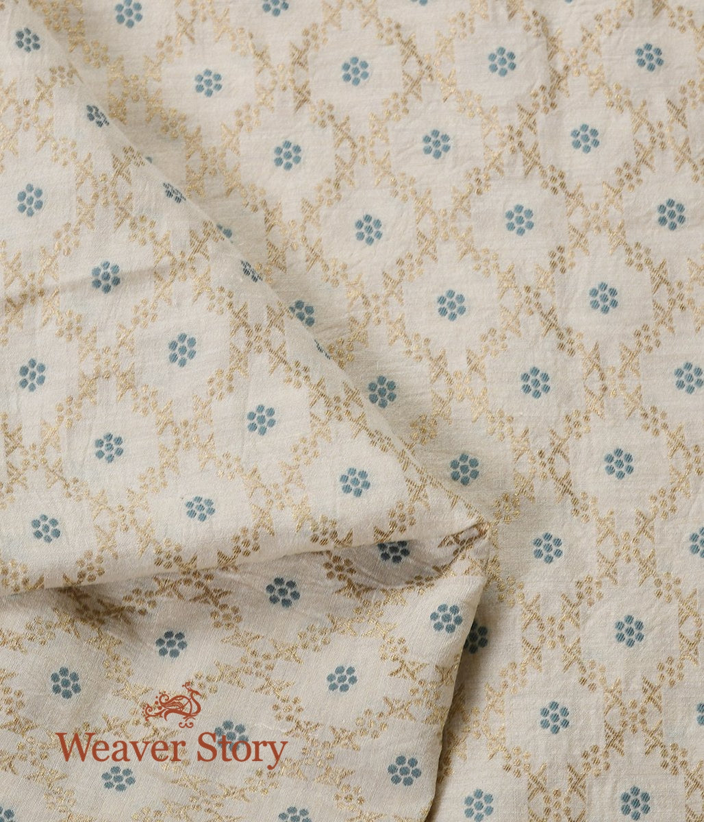 Handwoven Beige Moonga Silk Fabric with Meenakari