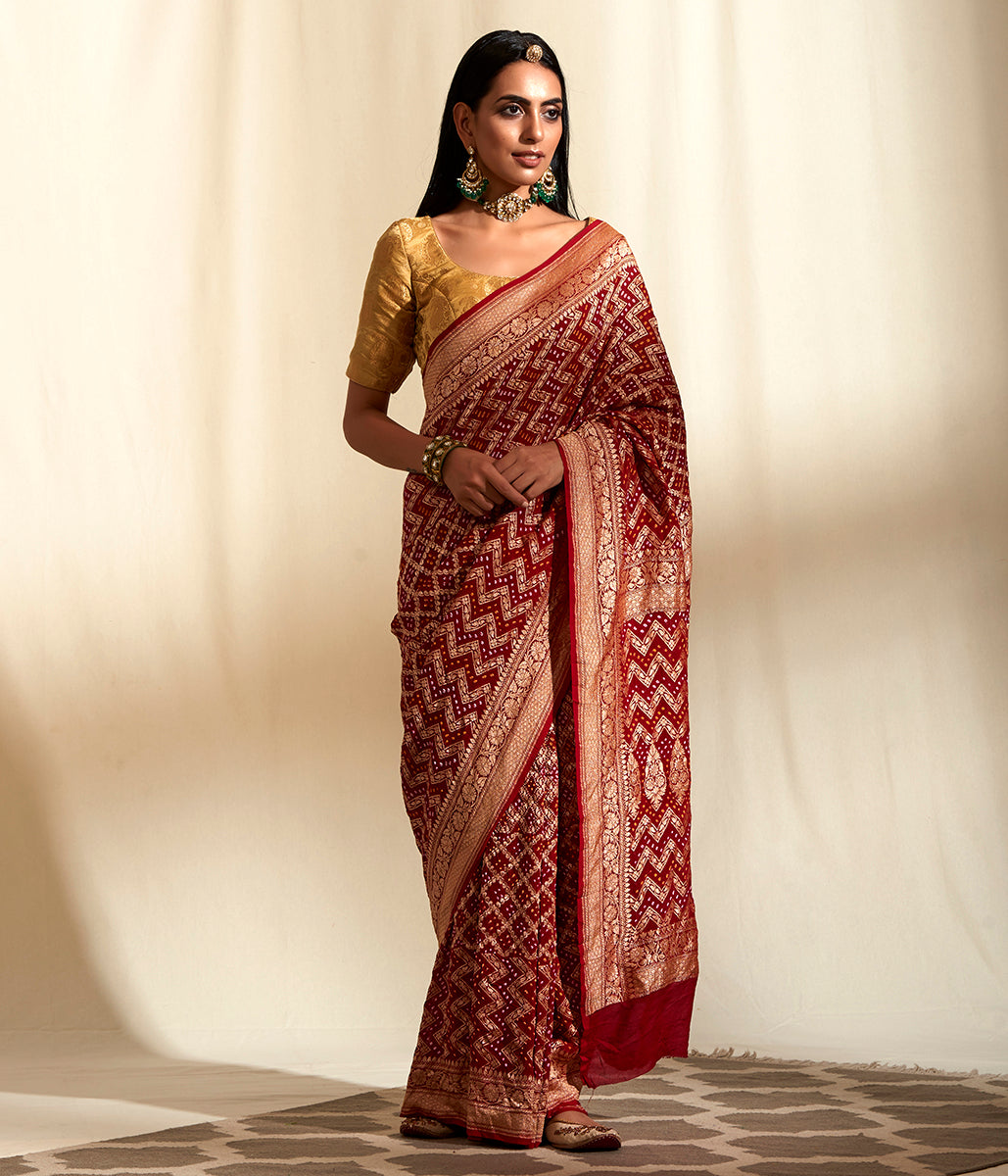 Handwoven Banarasi Bandhej Saree in Mahroon