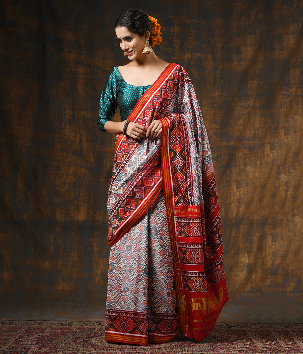 Handwoven White and Red Gujarat Patola Saree