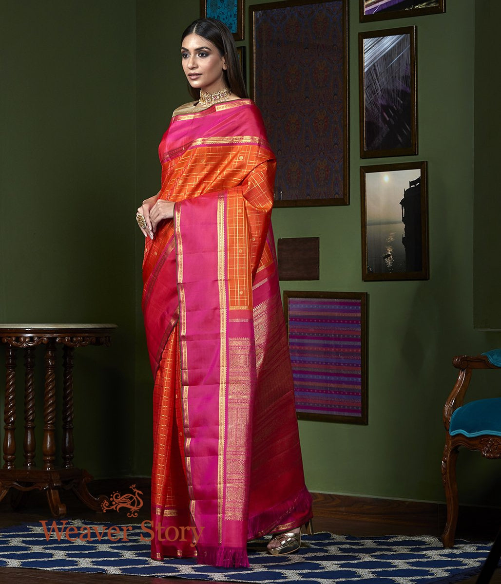 Handwoven Orange Zari Checks Kanjivaram Saree