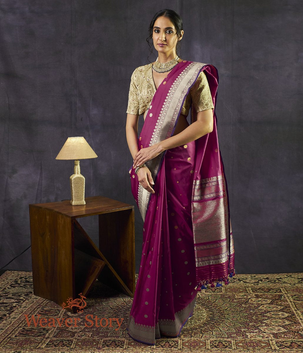 Handwoven Plum Kadhwa Booti Saree with Blue Selvedge