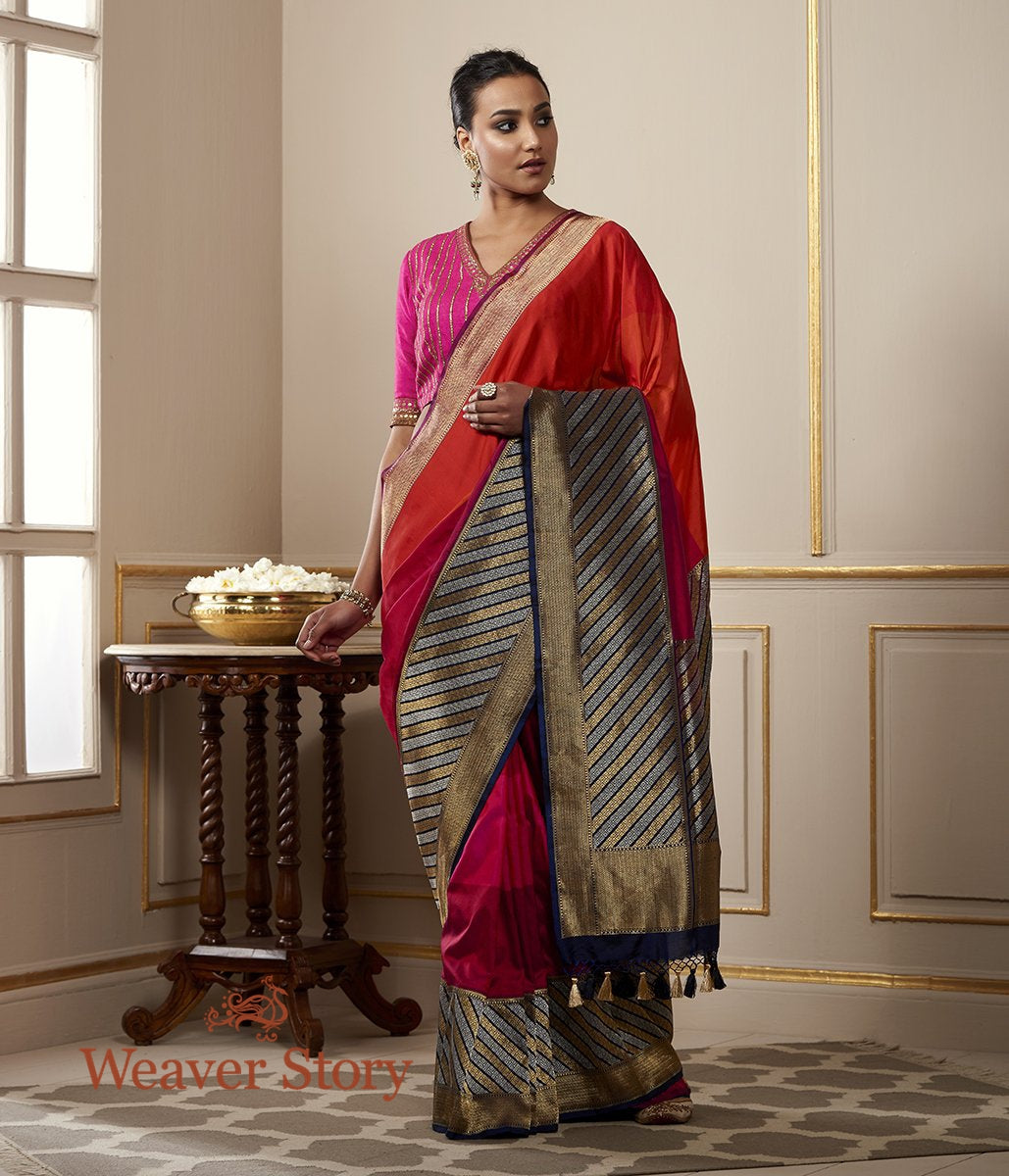 Handwoven Red Orange and Pink Rangkaat Saree with Kadhwa Border and Pallu in Blue