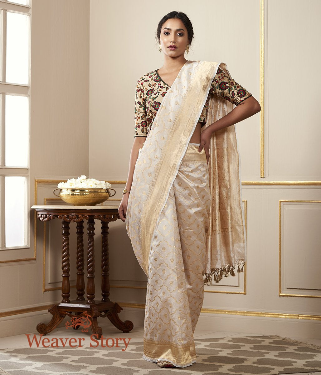 Handwoven Gold Tissue Saree with all over Zari Jaal