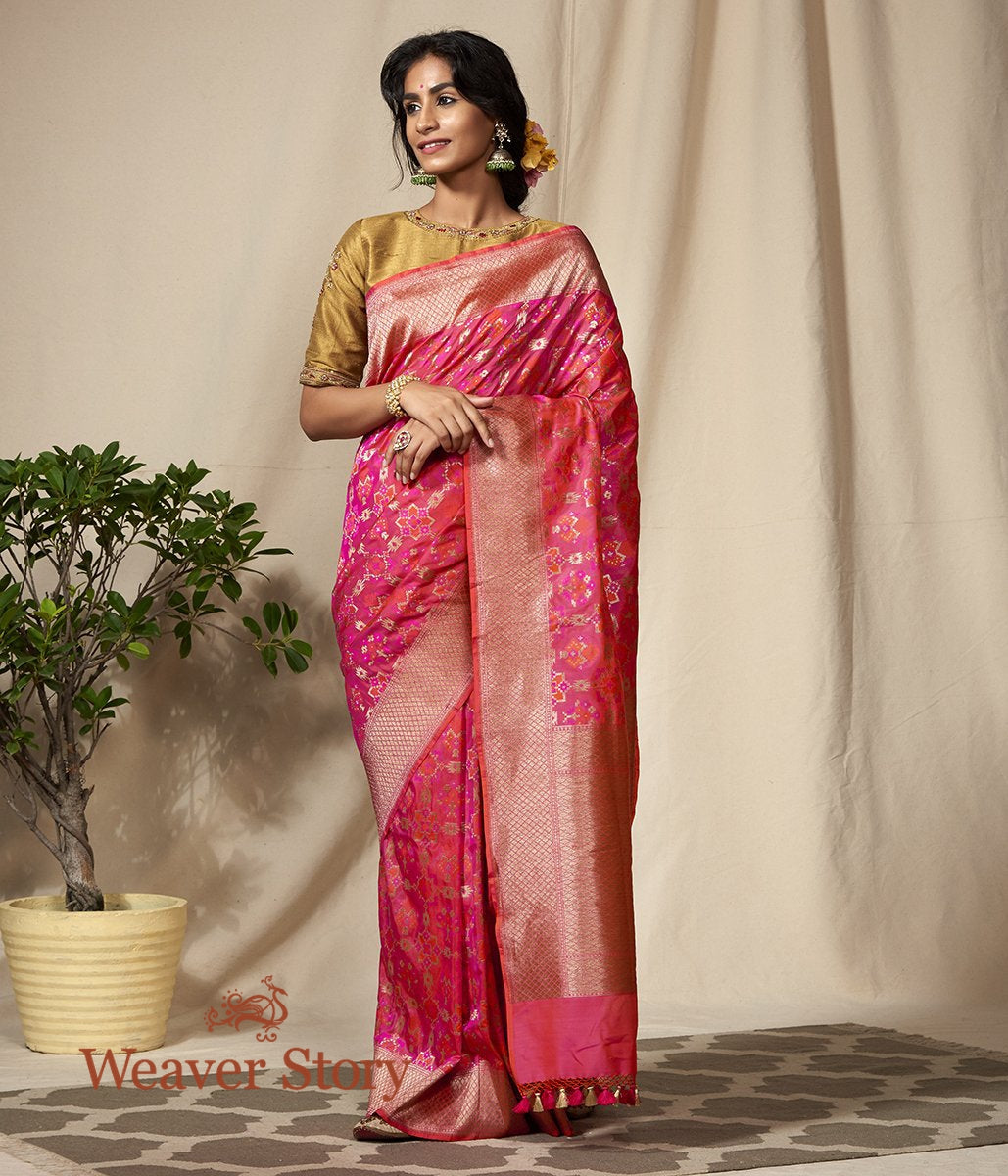 Handwoven Pink and Orange Antique Zari Banarasi Patola Saree
