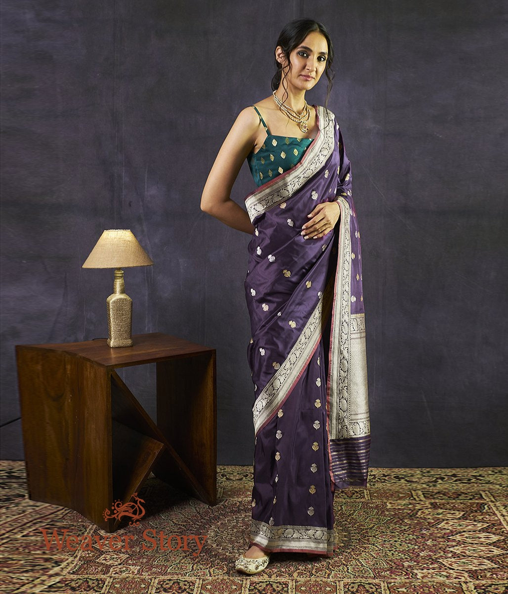 Handwoven Dark Purple Kadhwa Booti Saree with Beldaar Border
