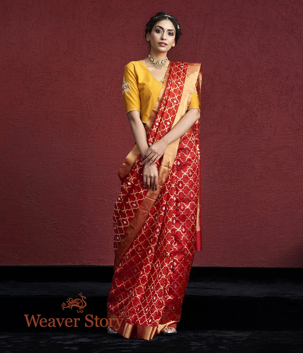 Handwoven Red Chanderi Silk Saree with Gold and Silver Zari Jaal