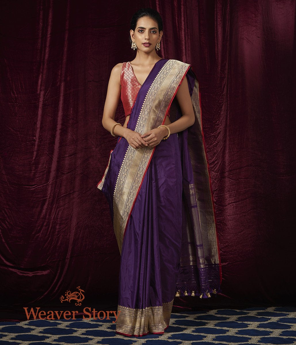 Handwoven Purple Plain Katan Saree with Heavy Border
