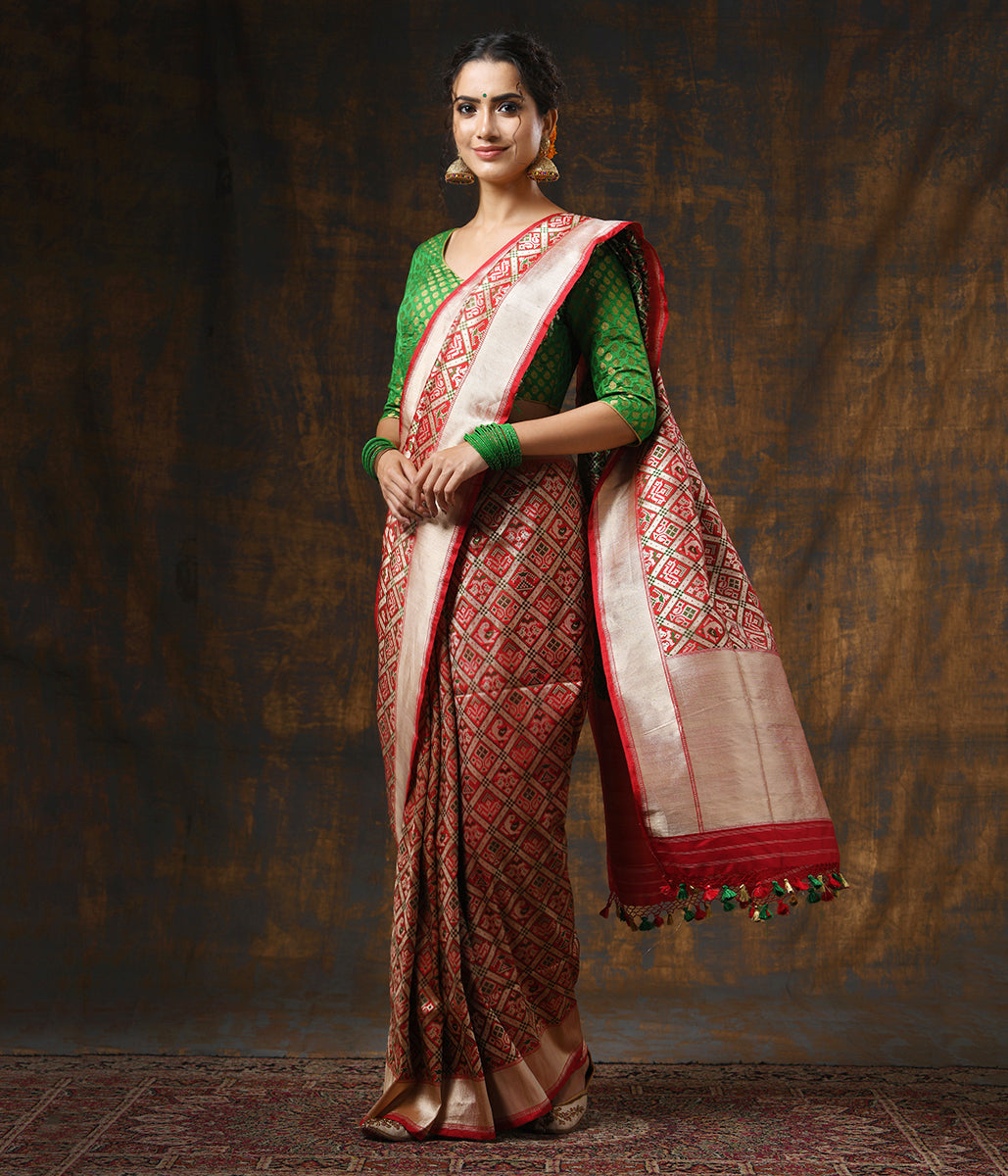 Handwoven Red Patola Banarasi Saree with Green Meenakari
